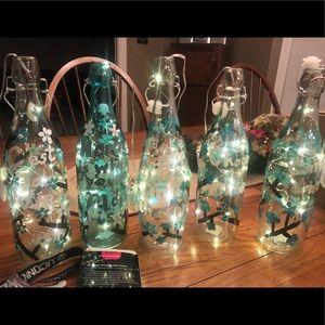 HANDMADE Painted Wine Bottles With Lights